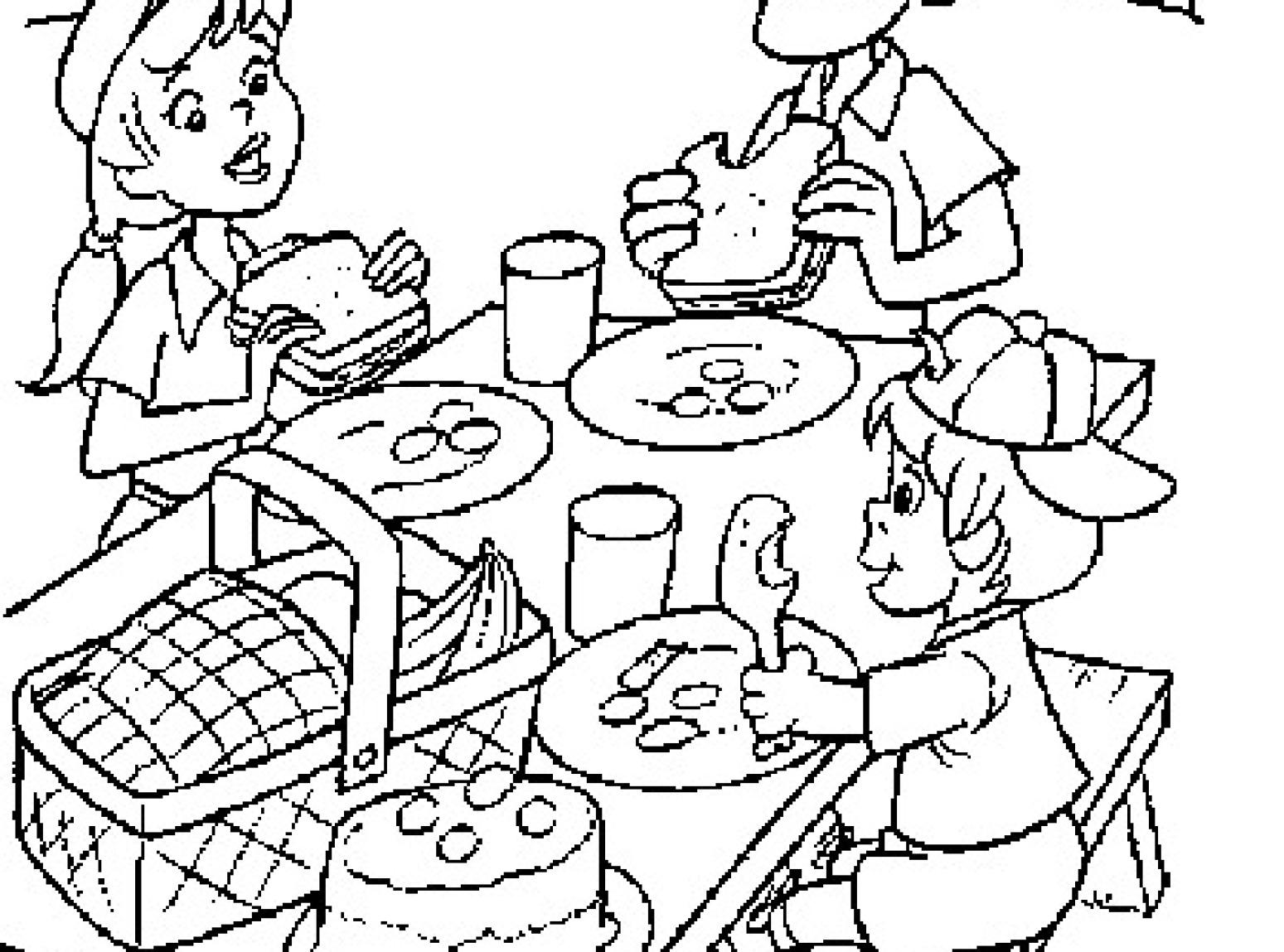 Coloring Pages Family Picnic