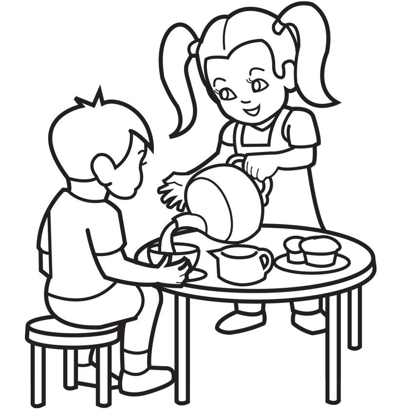 tea party coloring page az coloring pages