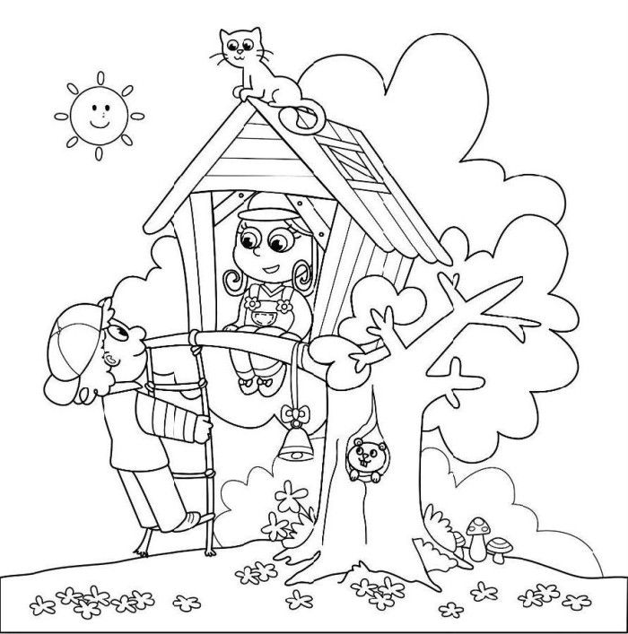 tree house coloring pages az coloring pages