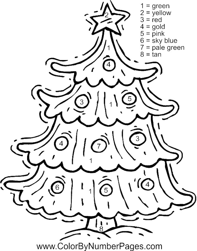 free printable christmas color by numbers coloring pages
