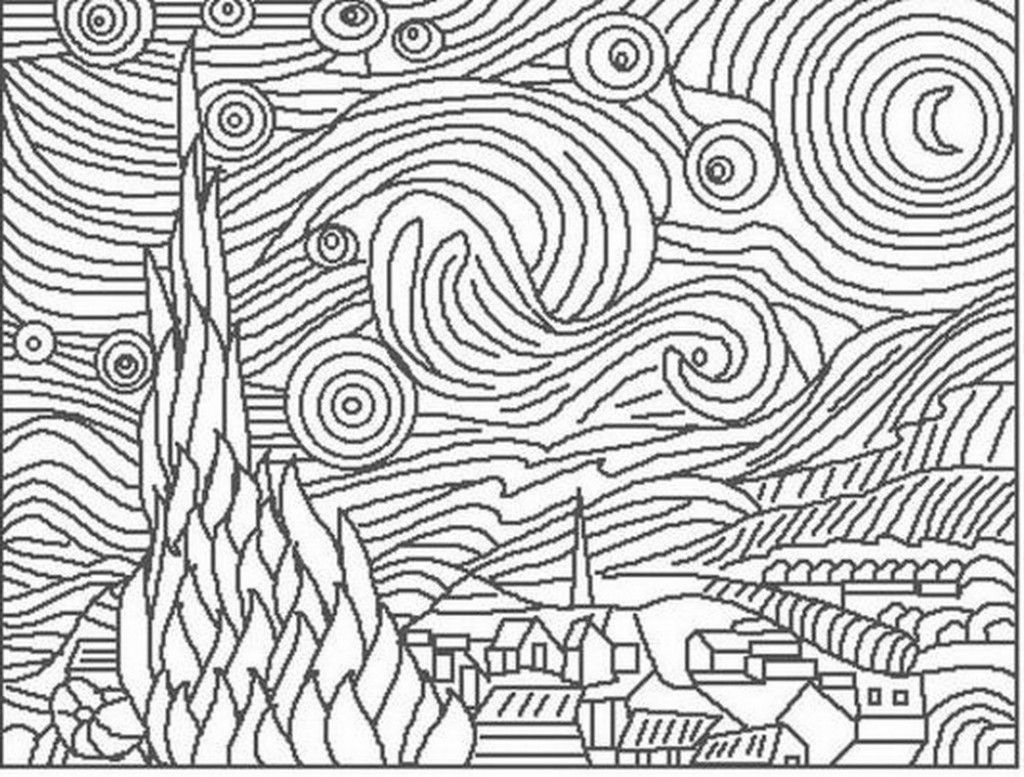 The Starry Night Coloring Page