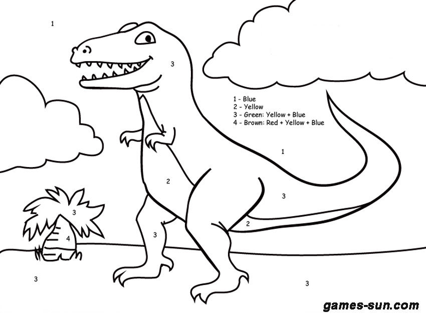 dinosaur coloring pages color by number coloring pages now