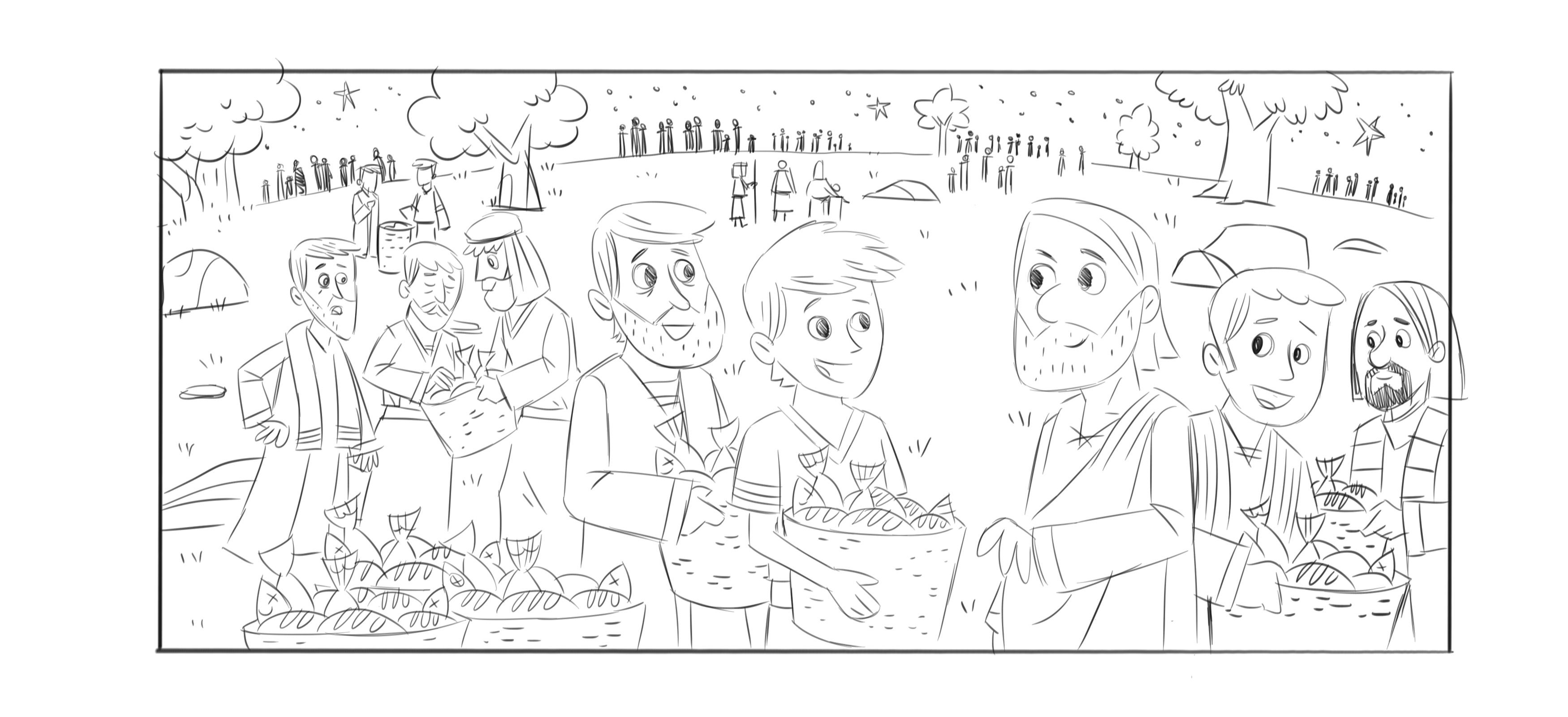 Jesus Feeding 5000 Coloring Page Coloring Home
