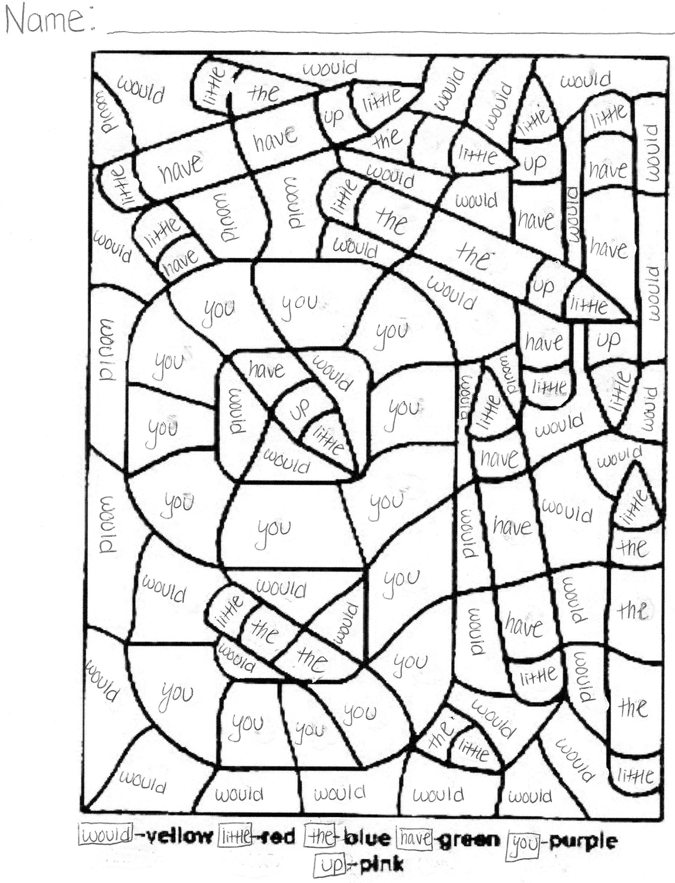 Sight Word Coloring Pages Coloring Pages