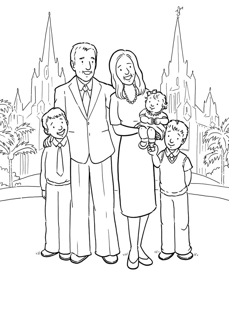 a happy family at the san diego lds temple coloring page az