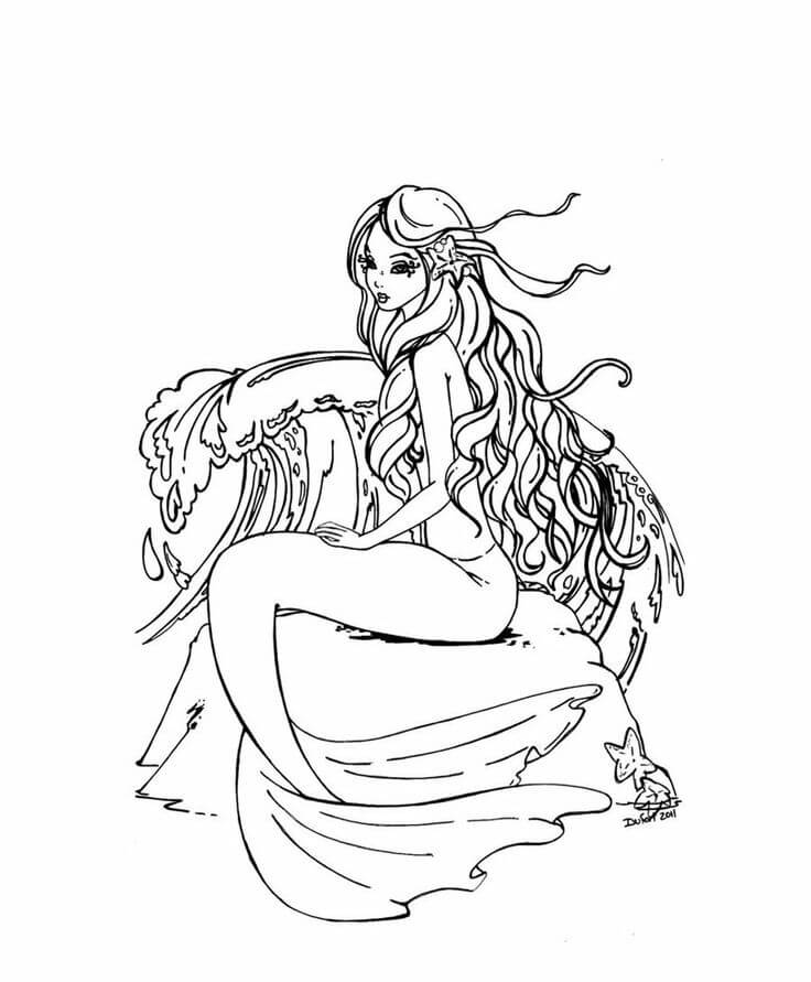 mermaid coloring pages for adults clettk
