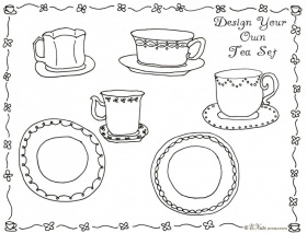 tea party coloring pages birthday printable az coloring pages