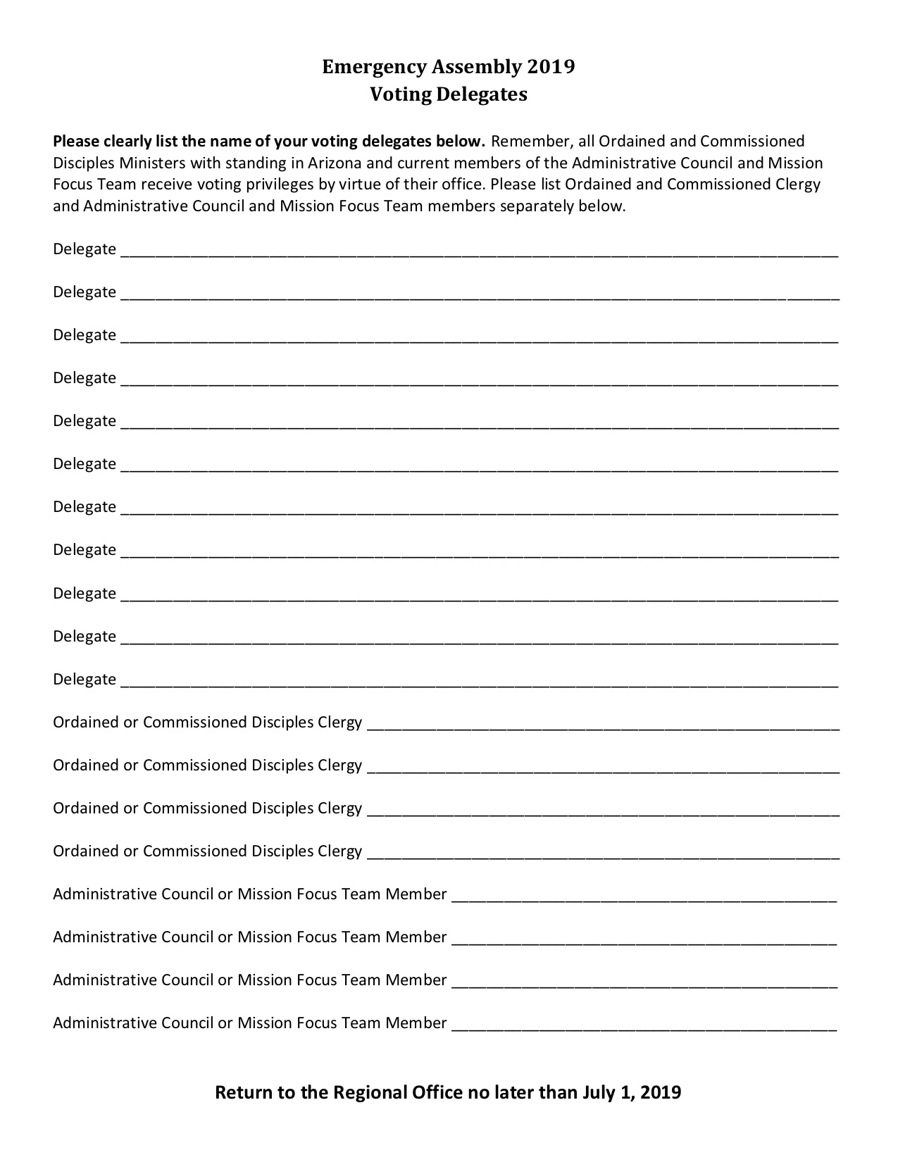 Emergency Assembly Voting Delegates Worksheet