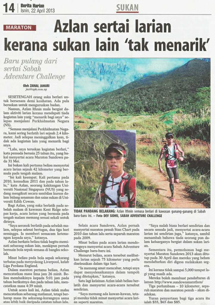 A 15-minute interview became an article in today's copy of the Berita Harian.