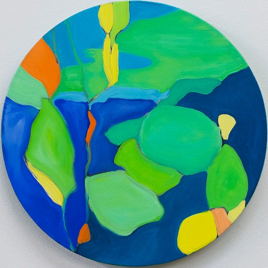 "View from beneath the surface 2, oil on canvas, 12"" diameter"