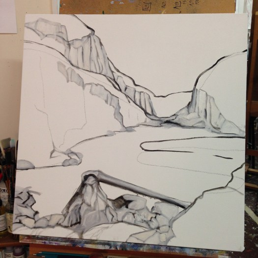 """""""Paysage planétaire"""" in progress, oil on canvas, 24x24"""""""