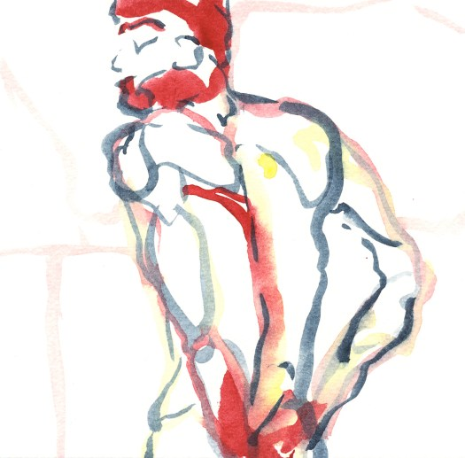 """""""Red"""", Watercolor on paper, 6x6"""", 2011."""