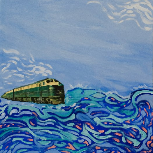 """Transatlantic train to nowhere"", mixed media, 20x20"", 2015. Included in Gowanus Swim's show ""Telestrations"" at Halyards"