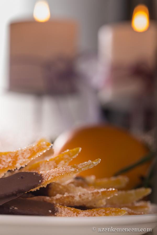 Kandírozott narancshéj csokiba mártva - belső fehér héjjal és anélkül