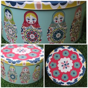 Russian dollie cookie tin collage
