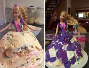 rapunzel - ice cream cake - during and after
