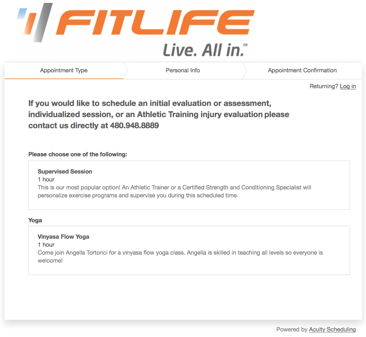 Acuity Scheduling FITLIFE