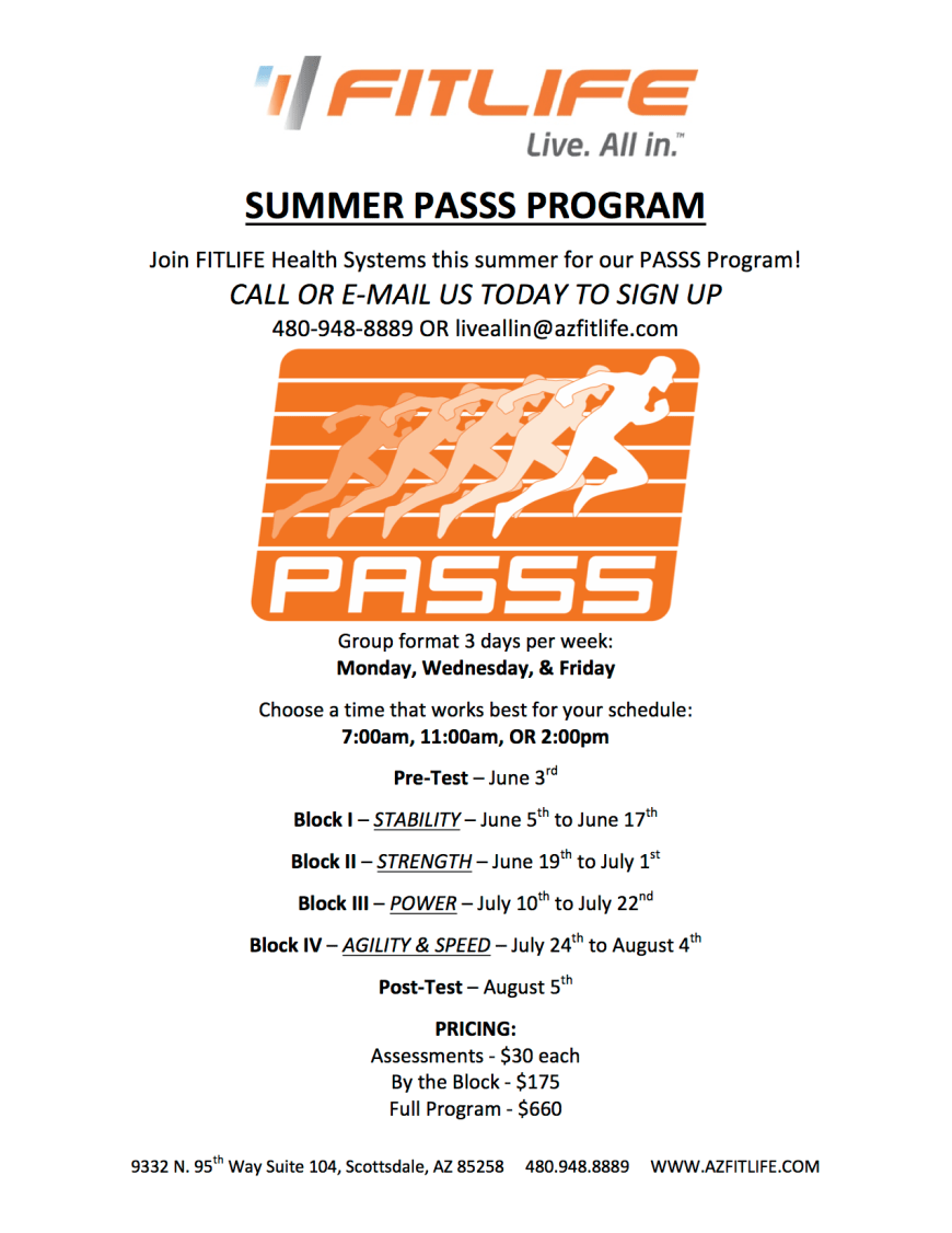 FITLIFE Summer PASSS Program for power, agility, speed, strength, and stability training.