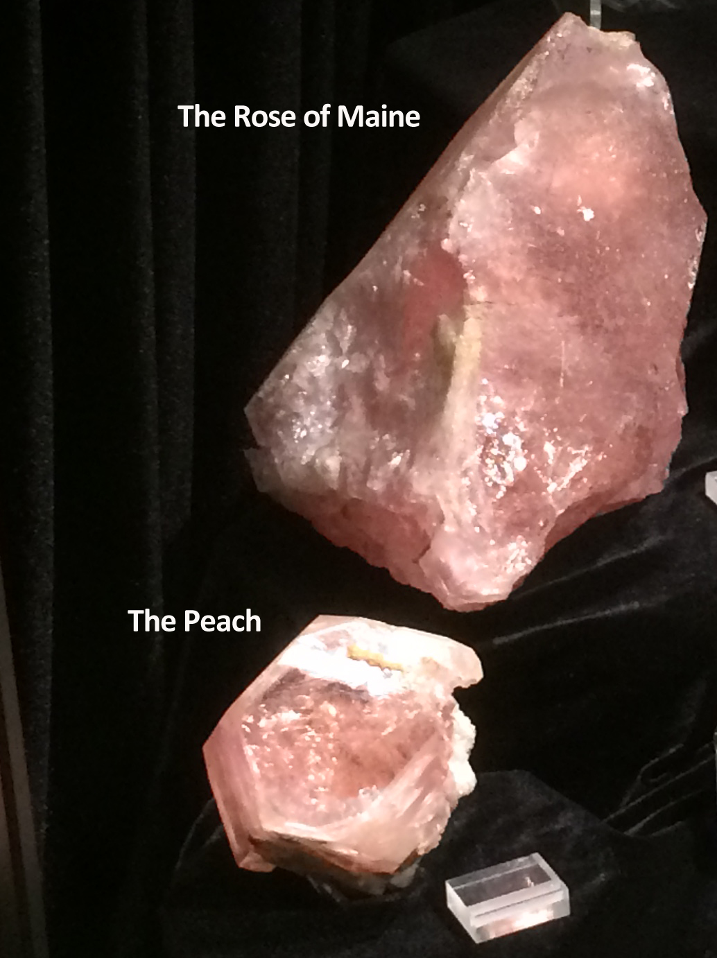 """Figure 8a. """"The Rose of Maine"""" and """"The Peach,"""" morganite beryl from the Bennett Quarry, Maine"""