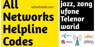 All networks helpline numbers Jazz, Zong, Ufone, Telenor, Warid
