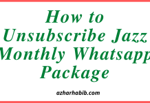 How to Unsubscribe Jazz Monthly Whatsapp Package