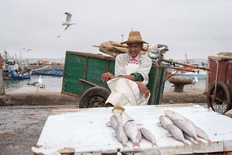 Fish seller in Essaouira port