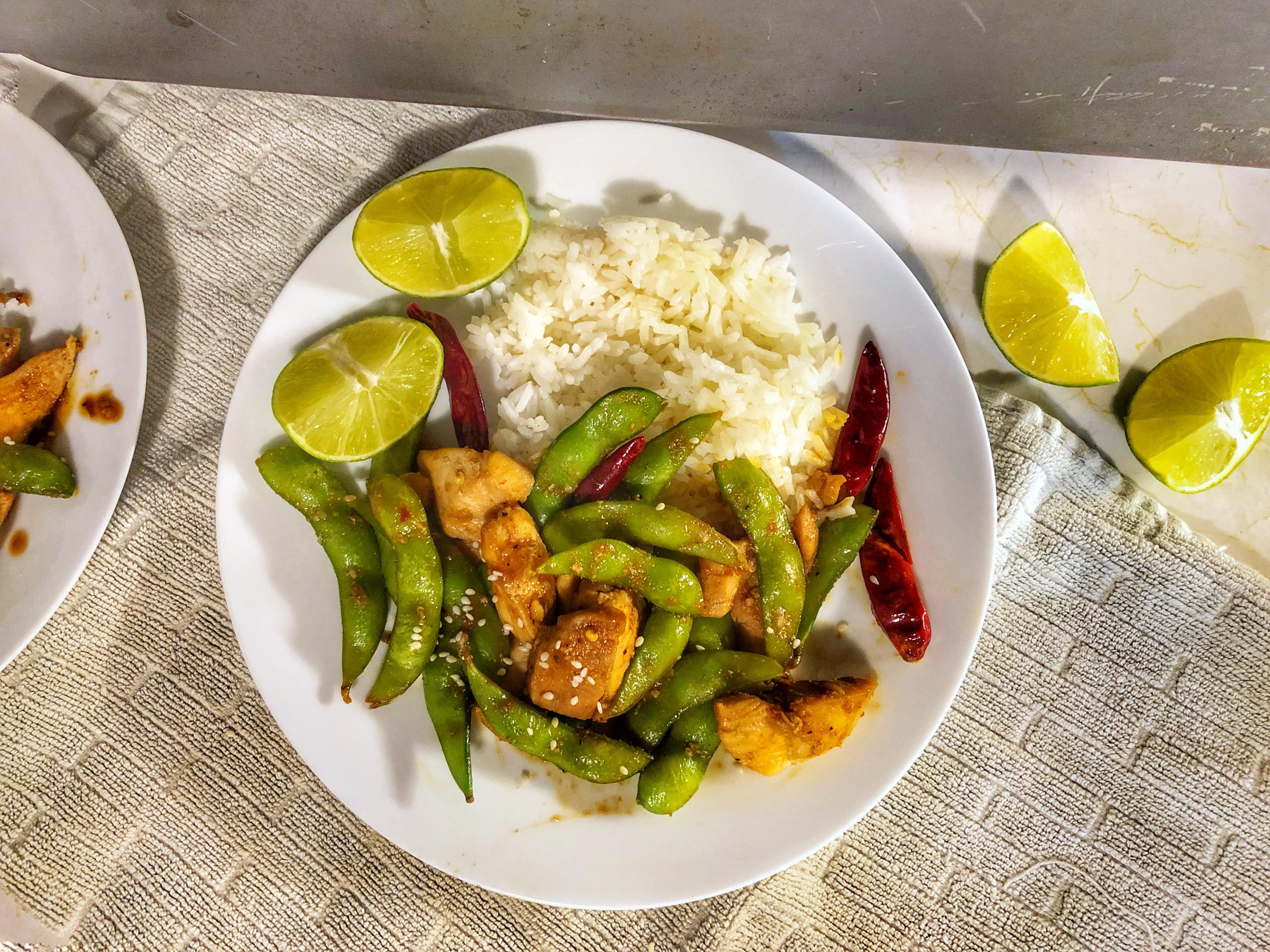 Zesty, Sweet and Spicy Chicken Edamame