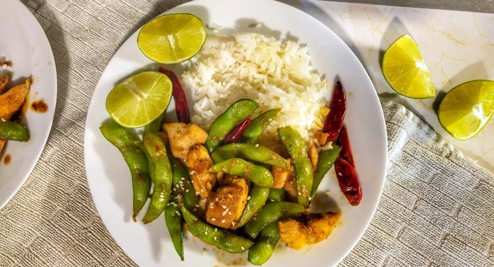 zest, sweet and spicy chicken edamame