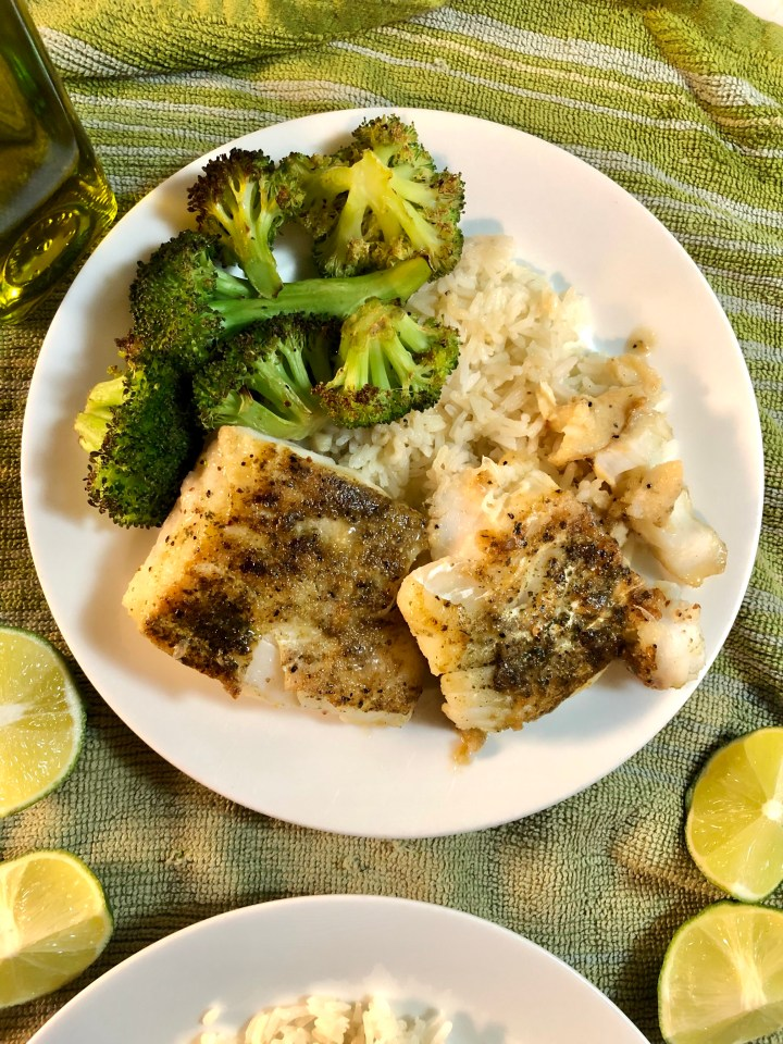 cod with rice and broccoli