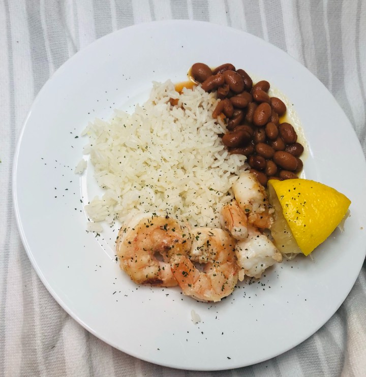 shrimp with rice and beans