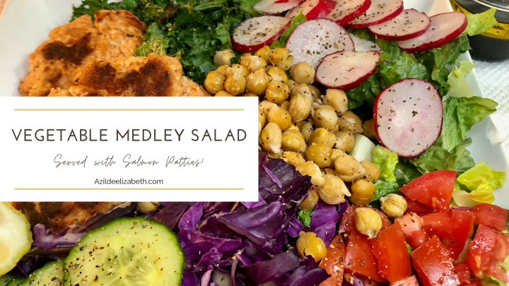 Healthy Vegetable Medley Salad With Salmon Patties