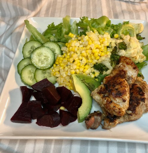 chicken thighs with salad