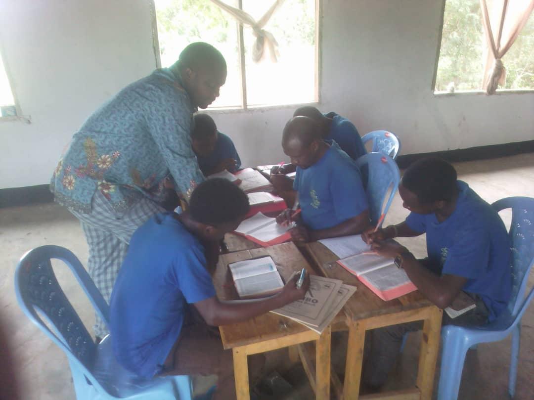 Gasper teaching Hermeneutics to our six full-time students at Talawanda.