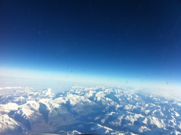 View of the Swiss Alps from the plane