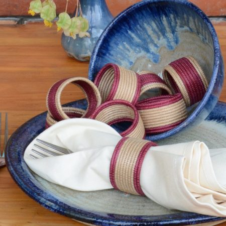 Woven Napkin Rings- Cranberry and Tea