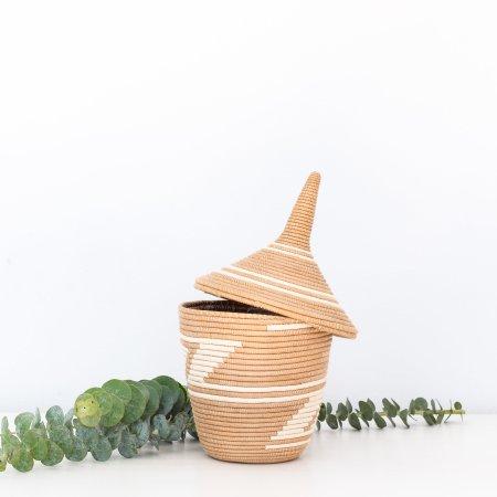 Sisal Lidded Peace Basket- Tea & White