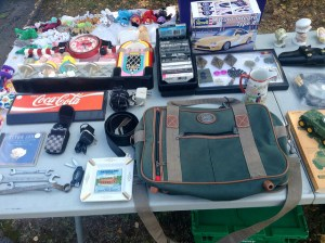 Organized table at a yard sale