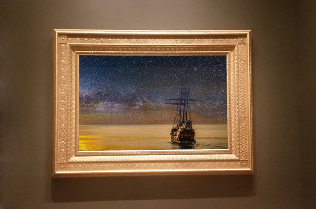 A painting in an antique frame, which fine art movers will relocate.