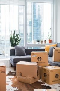 A bunch of boxes that you can use to pack your kitchen appliances.