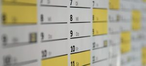 A wall calendar to set the date for your moving from North Carolina to Arizona.