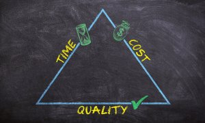 Time, cost, and quality on a triangle representing the top three elements of a moving process.