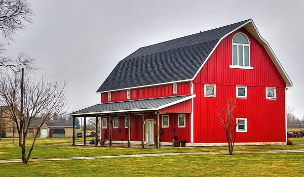 barn, red, grass, house, rural, area