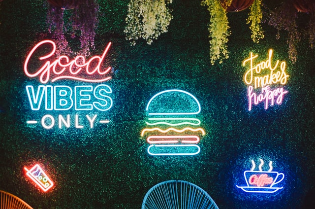 Neon light signs on the wall