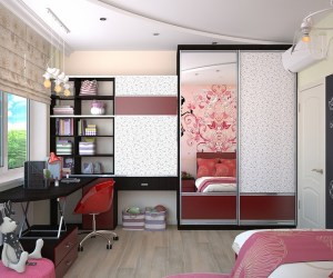 The interior of a room as an example of the best way to make more storage space in the kids' room.