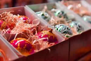 Christmas balls packed in the box as a sample of storing holiday decorations tips
