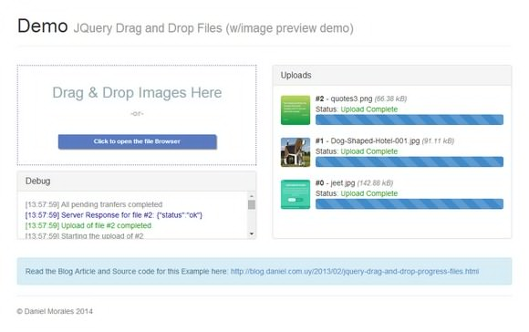 Drag and Drop jQuery File Uploader with Progress Bar