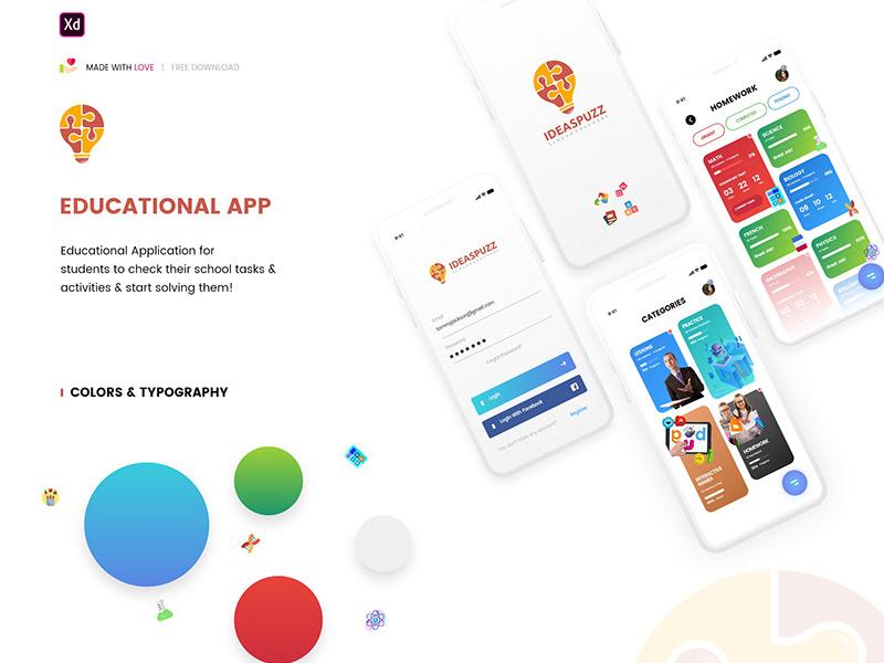 Educational App UI for Adobe XD