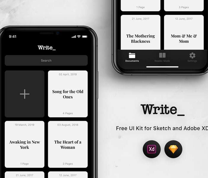 Write: Free UI Kit for Sketch and Adobe XD