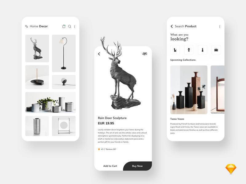 Home Decor App UI for Sketch