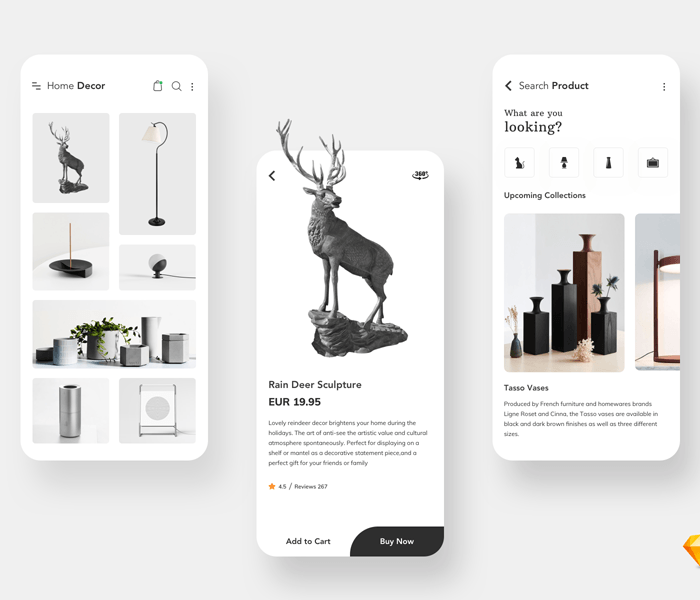 Home Decor App UI for Sketch